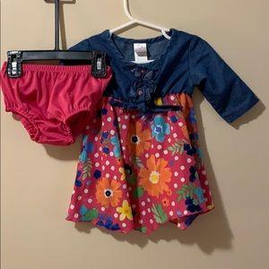 Girls 12 month handkerchief dress floral print